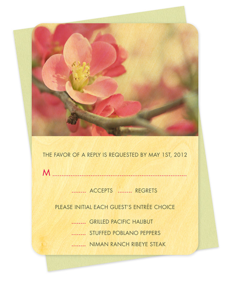 Flowering Quince Reply Card