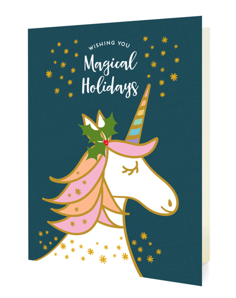 Magical Unicorn Blue Holiday Cards & Enamel Pin Set