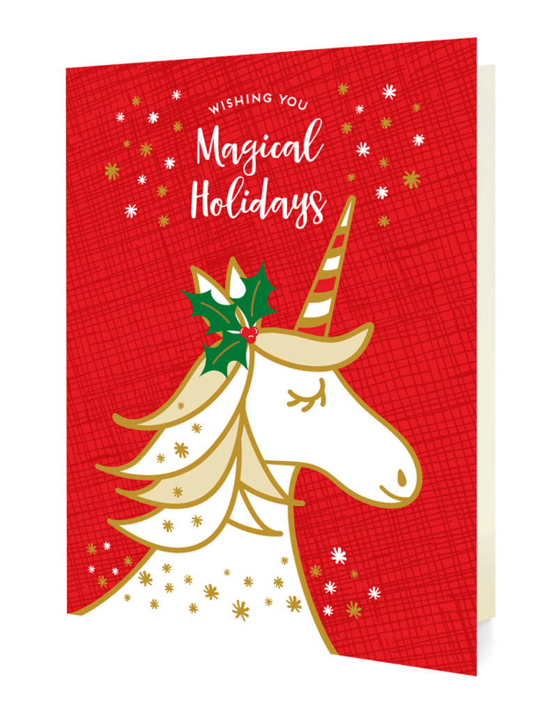 Magical Unicorn Red Holiday Cards & Enamel Pin Set