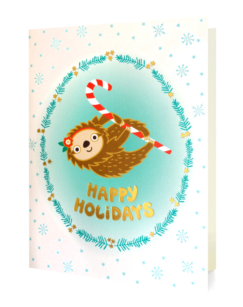Gold Foil Holiday Sloth