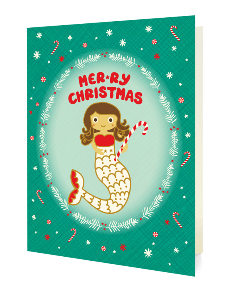 Mermaid Christmas Holiday Cards & Enamel Pin Set