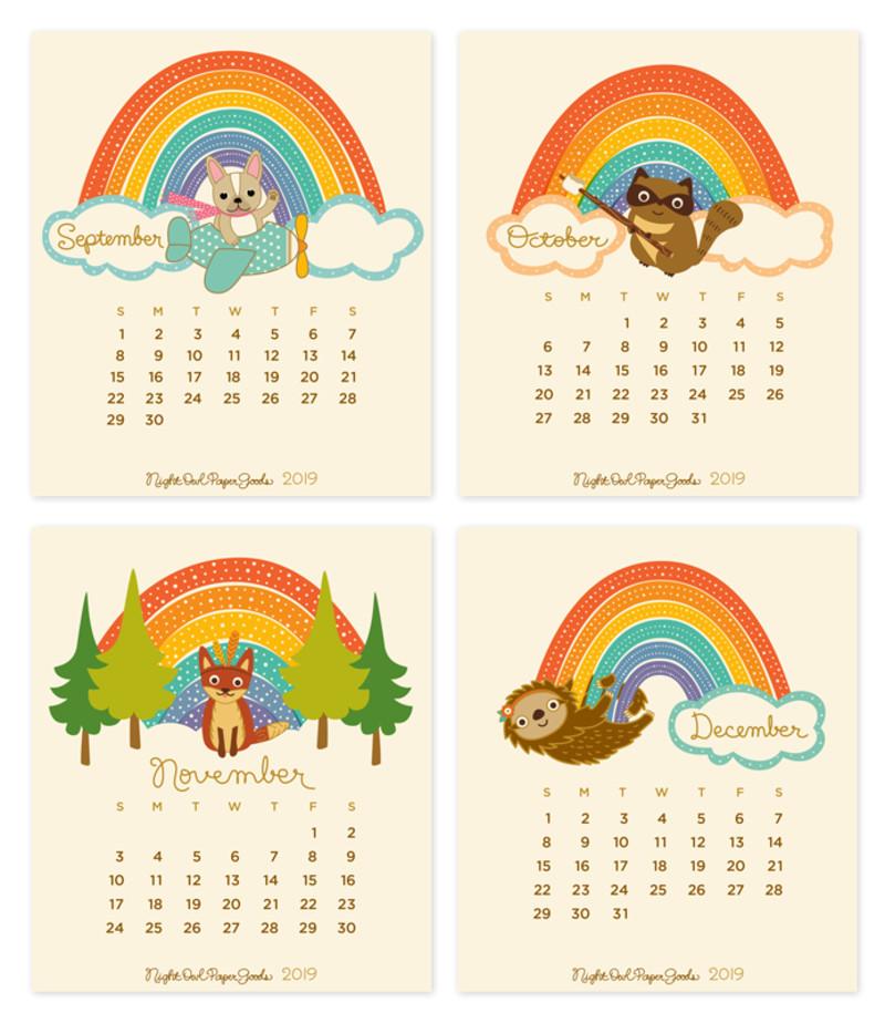 2019 Critter Rainbow Desk Calendar