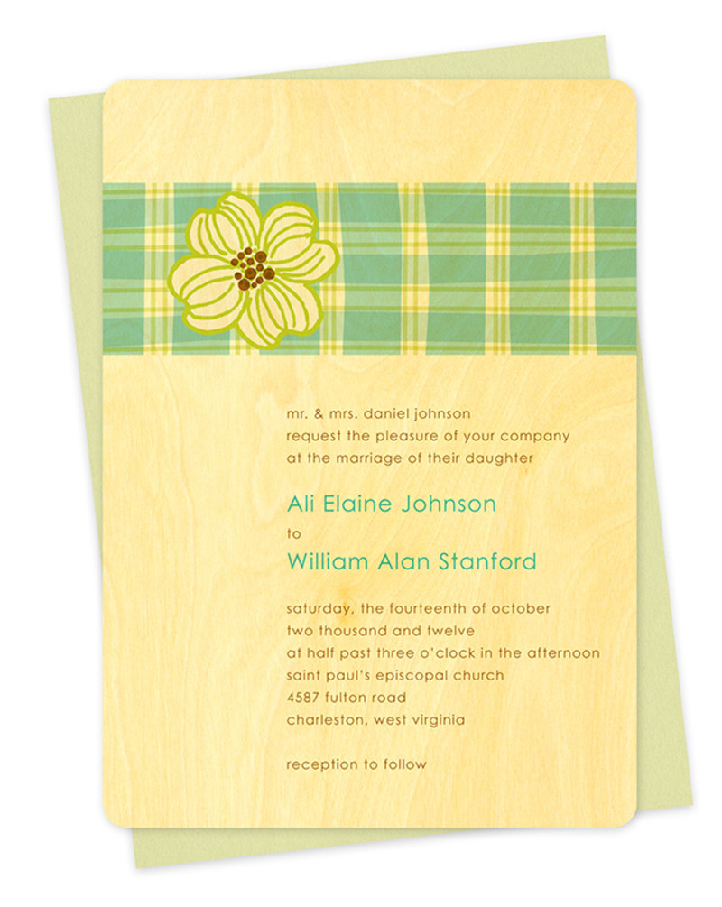 Plaid Dogwood Invitation