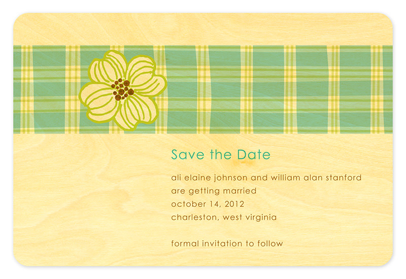 Plaid Dogwood Save the Date