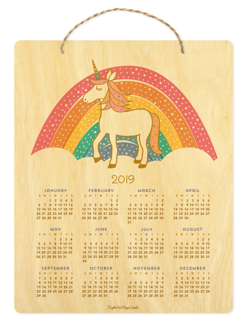 2019 Unicorn Hanging Calendar