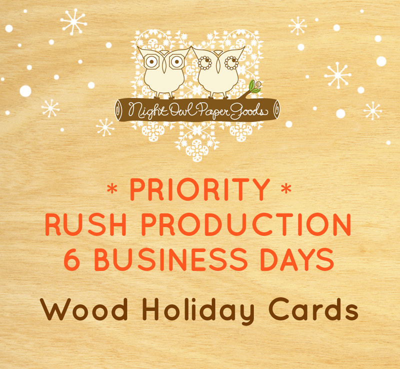 Priority Rush Production - Wood Holiday Cards - 6 Business Days