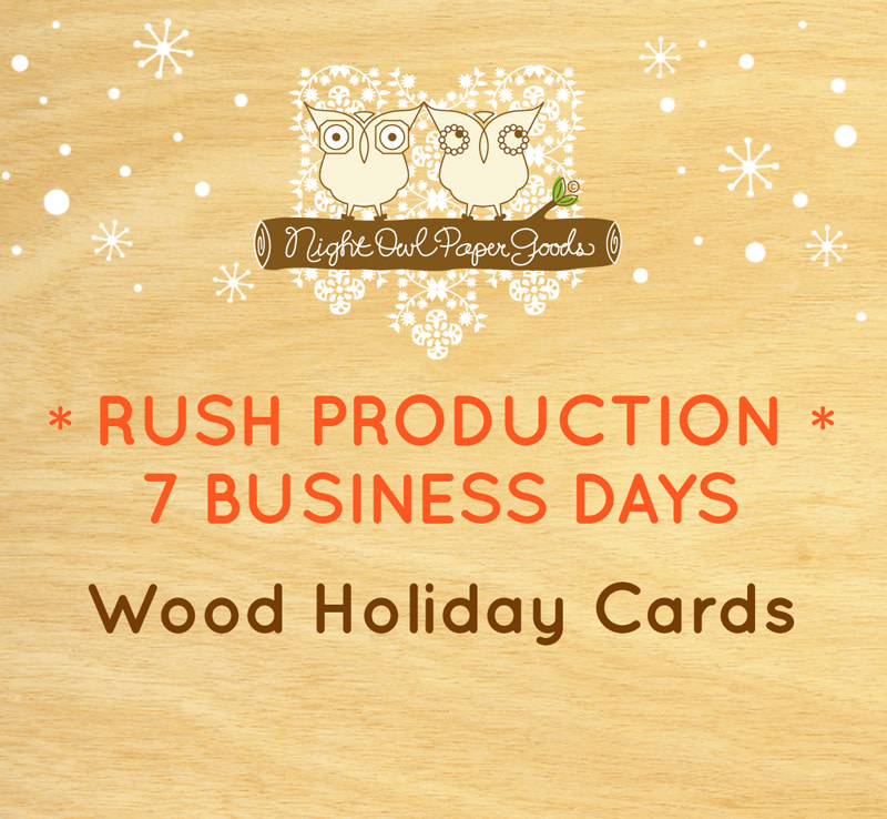 Rush Production - Wood Holiday Cards - 7 Business Days