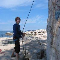 Rock climbing near the sea