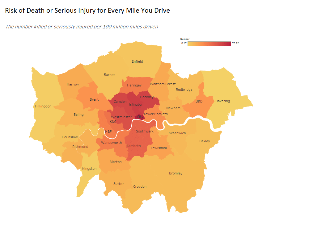 Heat map showing risk of death or serious injury when driving in London boroughs