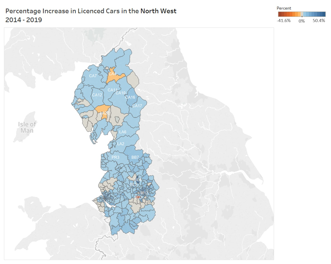 Heatmap showing the percentage change in licenced cars in the North West