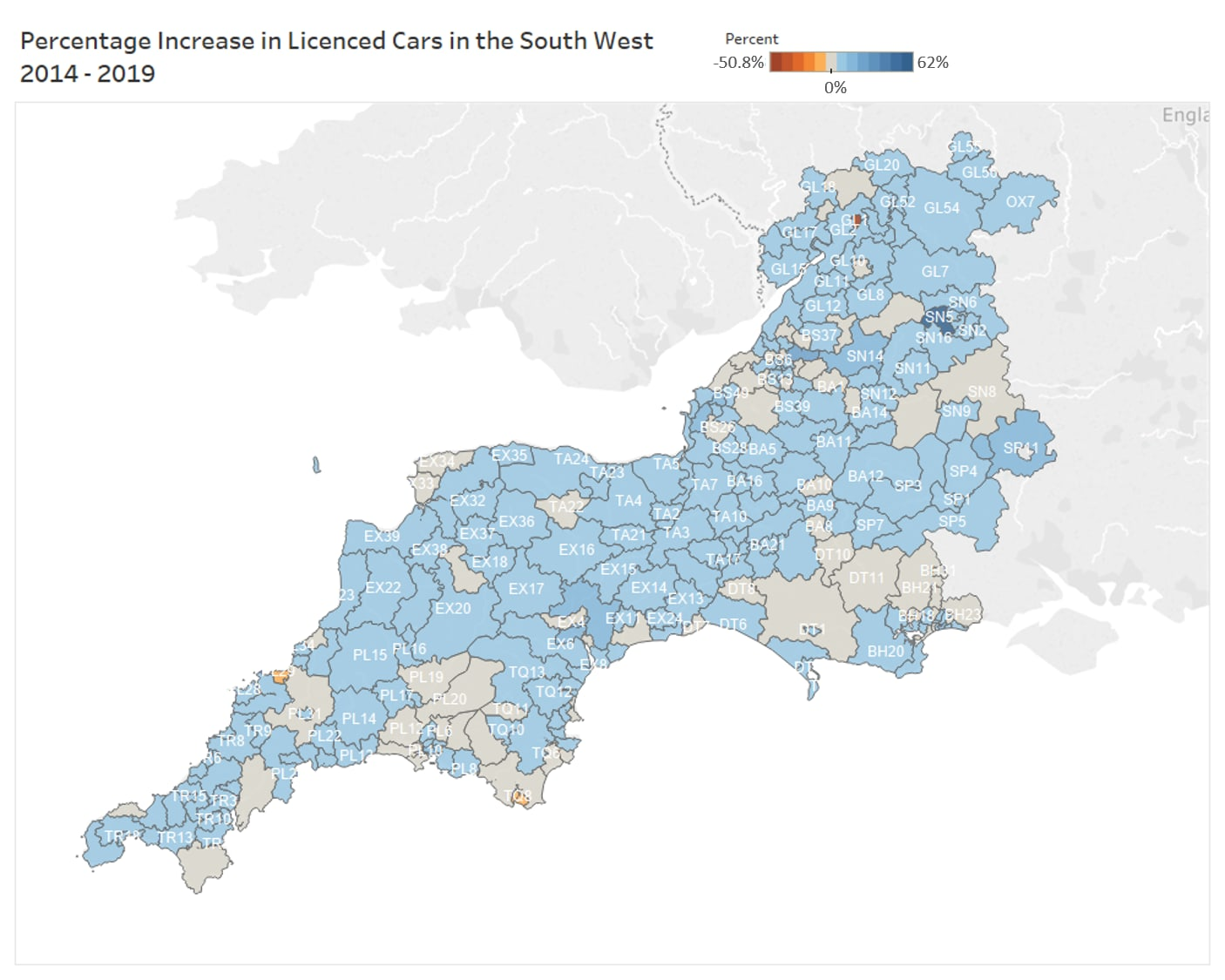 Heatmap showing the percentage change in licenced cars in the South West