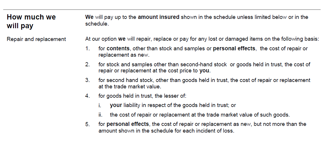 Sample policy wording from a UK business contents insurance policy to show how a claim can be settled: repair, replace or cash
