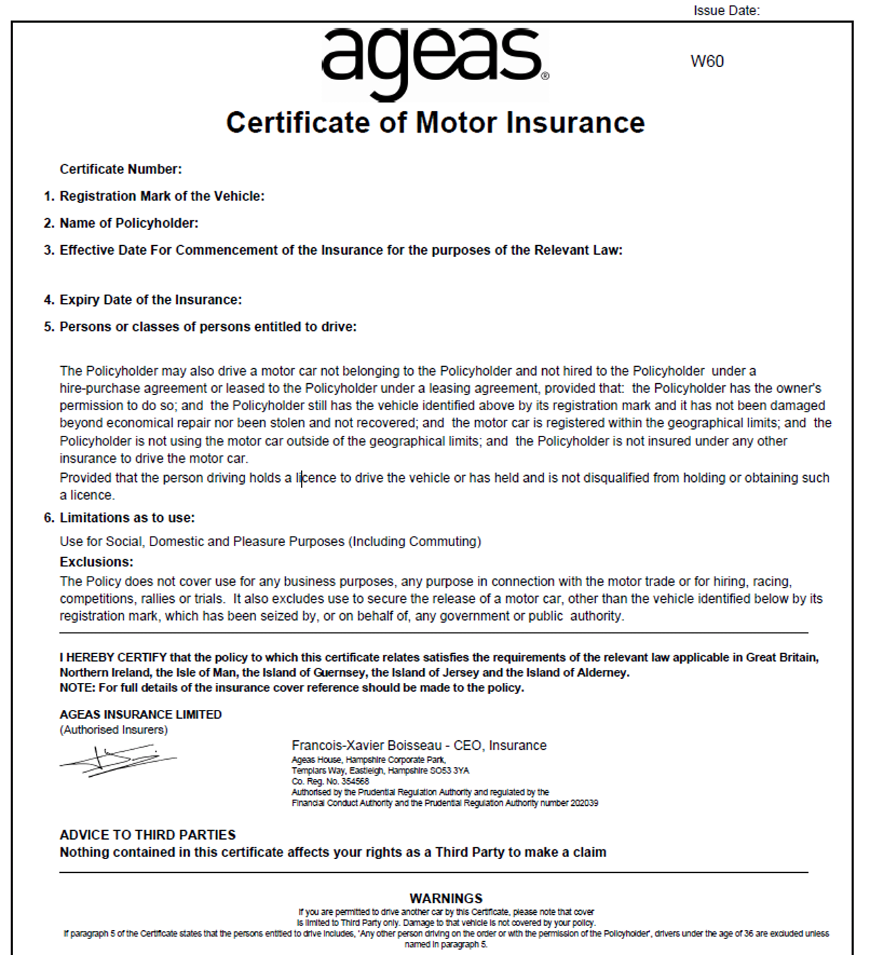 Picture of a sample certificate of motor insurance