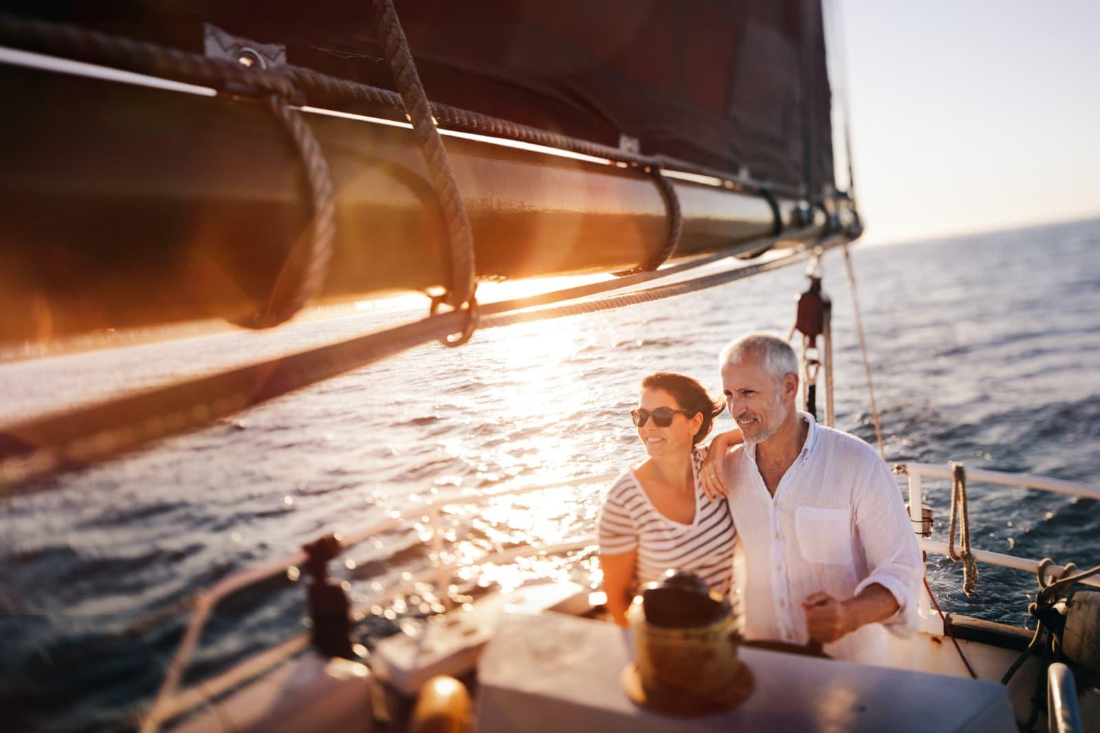 photo of a couple sailing