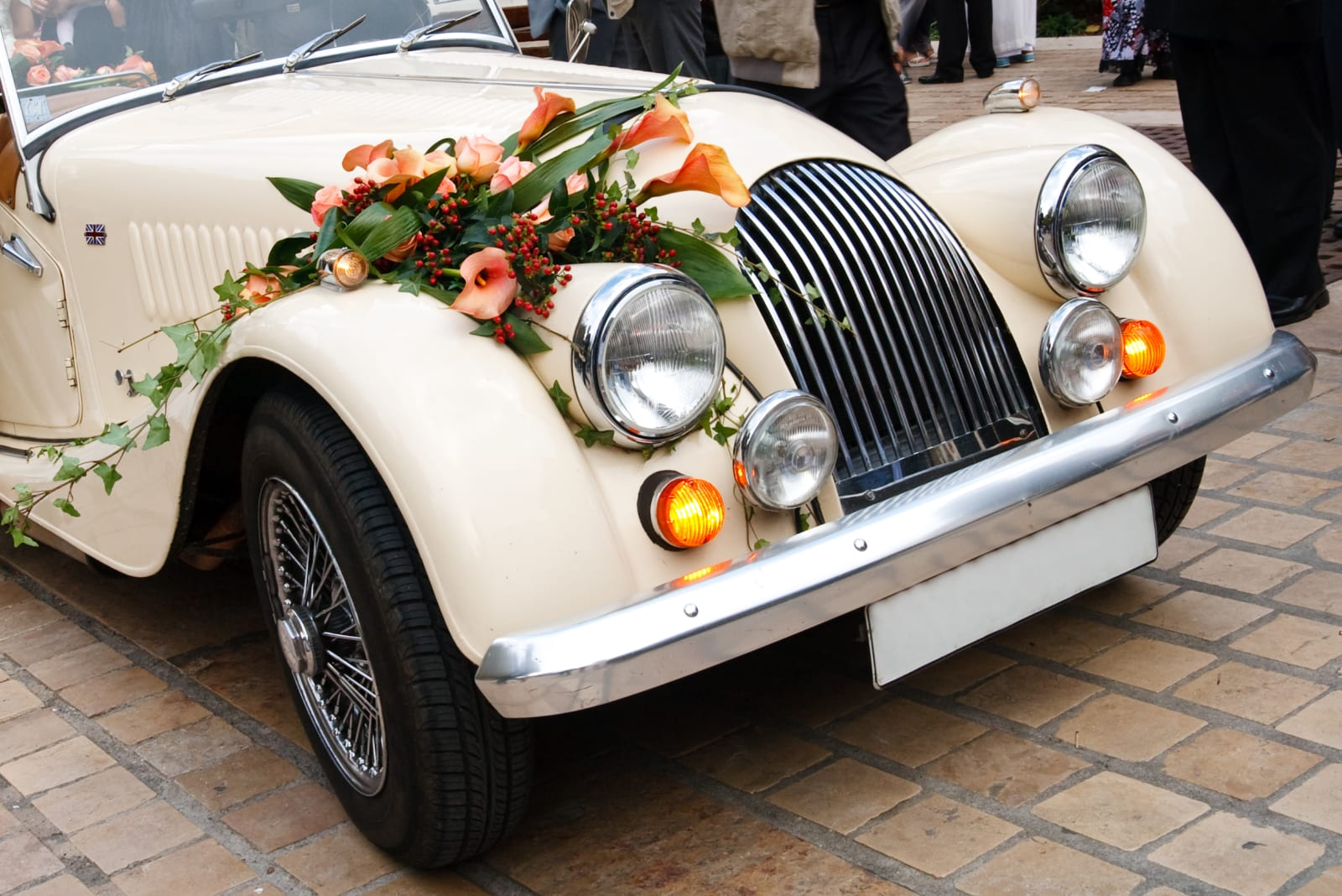 Picture of a vintage wedding car
