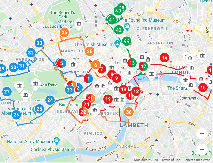 Map of London Big Bus Routes