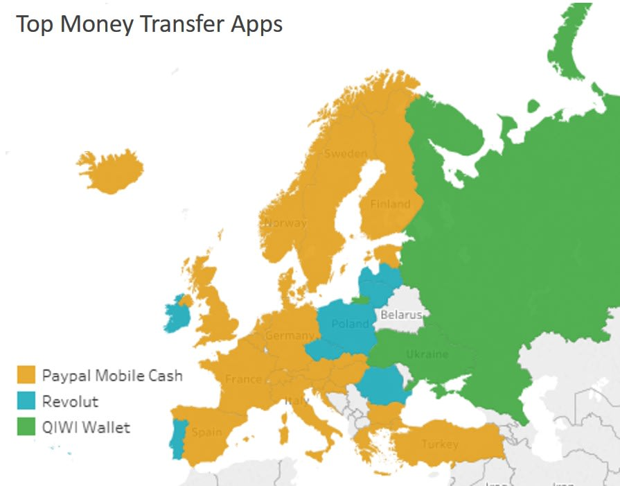 Chart showing the top money transfer app in each European country