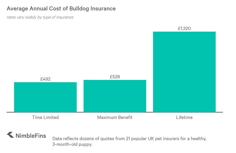 Chart showing the average cost of French Bulldog and English Bulldog insurance