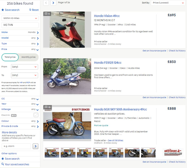 picture showing example of Autotrader search results