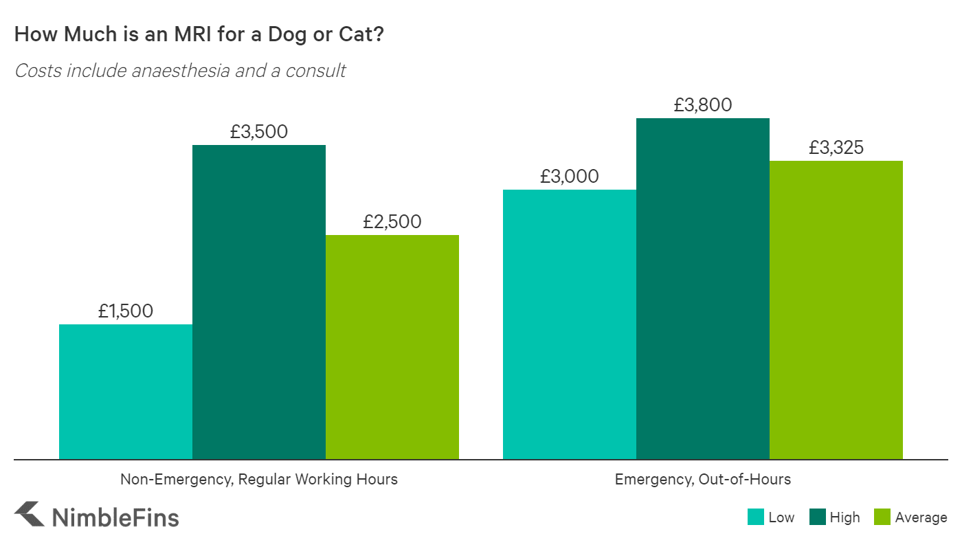 chart showing average costs for dog MRIs including emergency, out of hours