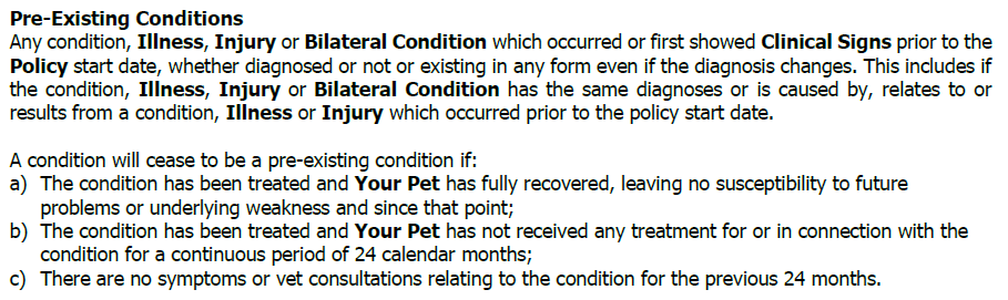 picture showing that Lifetime Pet Cover will cover pre-existing conditions
