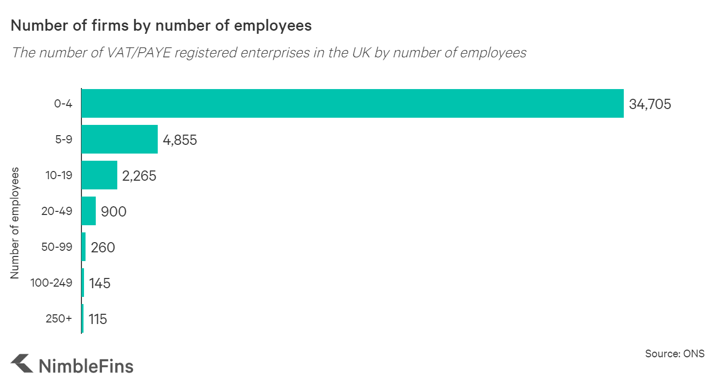 graph showing the number of firms in the UK by number of employees
