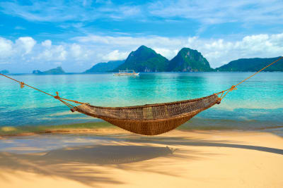 picture of empty hammock on beach by sea