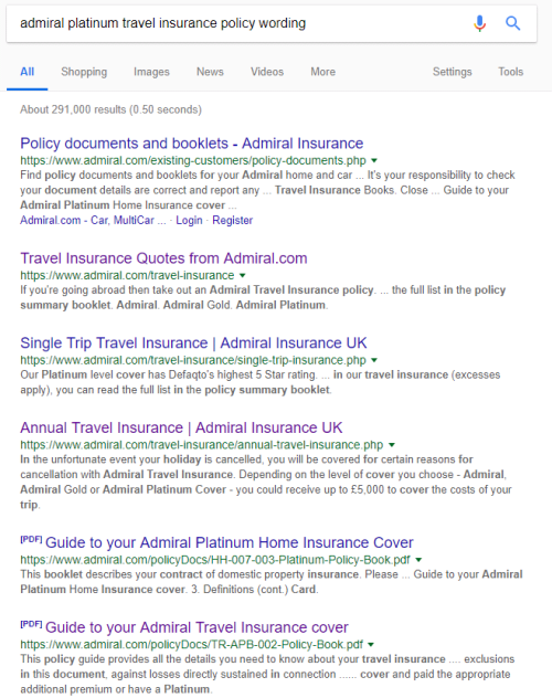 admiral travel insurance policy wording search results