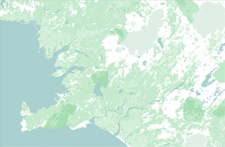 WIP version of Map of Iceland designed by Nimit Shah, showing landmass of Iceland in white, with landcover in different shades of green