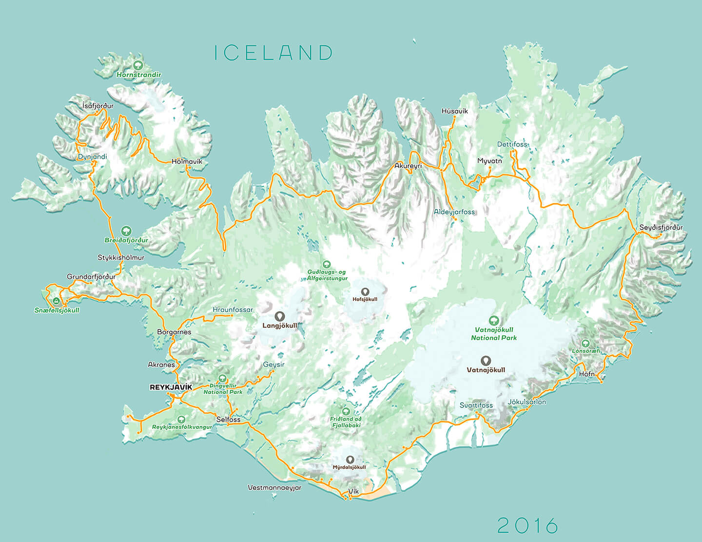 Map of Iceland designed by Nimit Shah