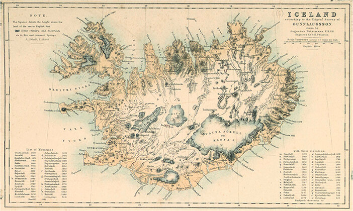 Vintage Map of Iceland from Gunnlaugsson's Surveys, drawn by Petermann and engraved by Swanston (1850)