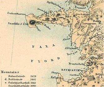 Zoomed to show Snæfellsjökull and Snæfellsnes Peninsula, A Vintage Map of Iceland from Gunnlaugsson's Surveys, drawn by Petermann and engraved by Swanston (1850)
