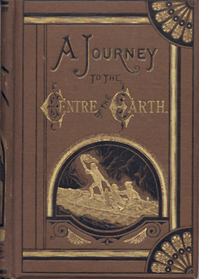 Front cover of an 1874 English translation of A Journey to the Centre of the Earth. Image sourced from Wikipedia