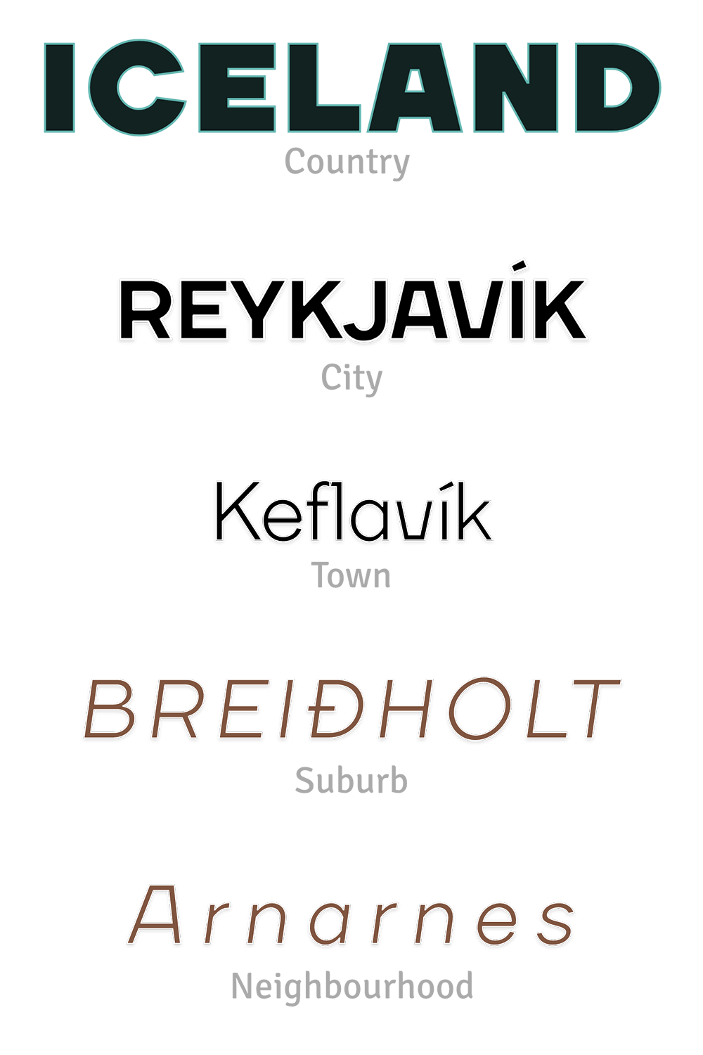 Image showing typographic style and hierarchy of map labels designed by Nimit Shah