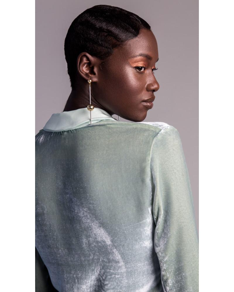Talia Woven Velvet Shirt, Golden Glow, VARYFORM