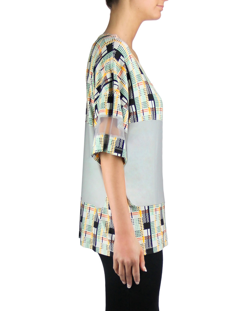 Panelled Print Color Block T-Shirt, Twisted City Tartan, Aimee Kent
