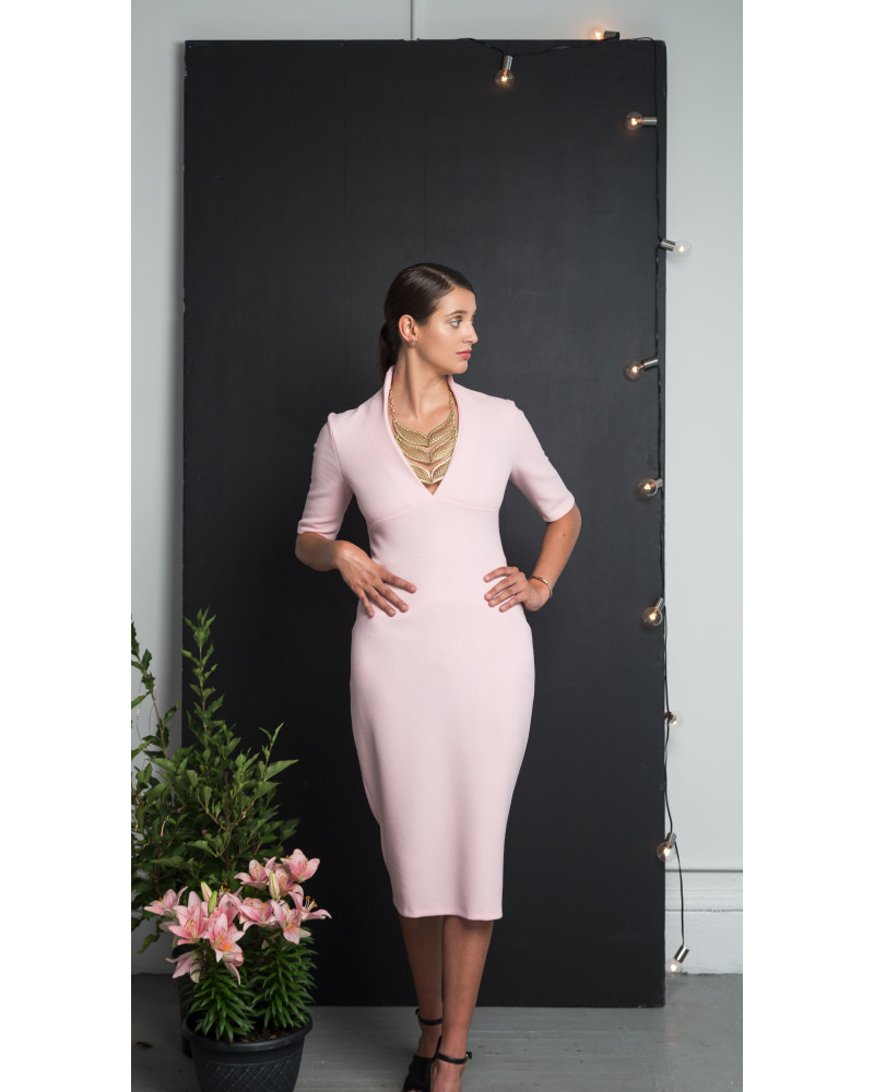 Venus V-Neck Stretch Wool Dress, Holiday Glow, VARYFORM