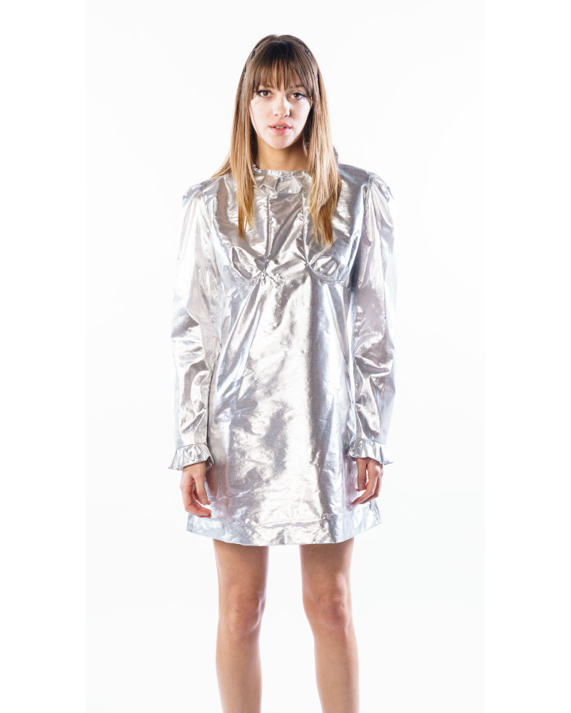 SHEER SILVER Metallic Sparky Mini Dress, COLLECTION 5 - MINI CAPSULE, THIS IS SLOANE