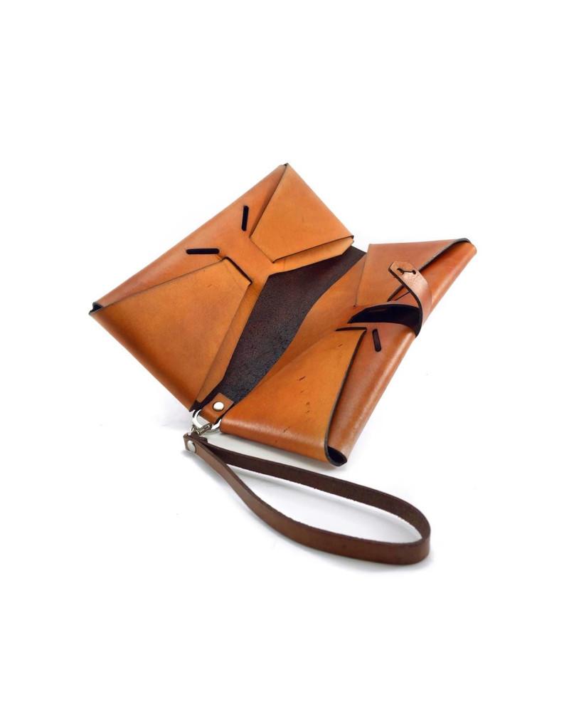 [ palma ] Leather Clutch [ Orange ], Ángulo, Ángulo