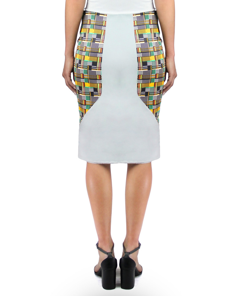 Panelled Print and Suede Pencil Skirt, Twisted City Tartan, Aimee Kent