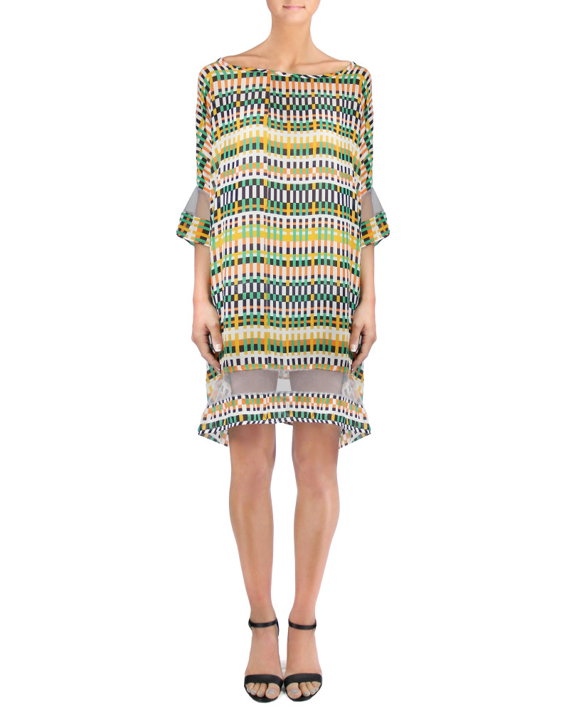 Silk Chiffon Digital Print Dress, Twisted City Tartan, Aimee Kent
