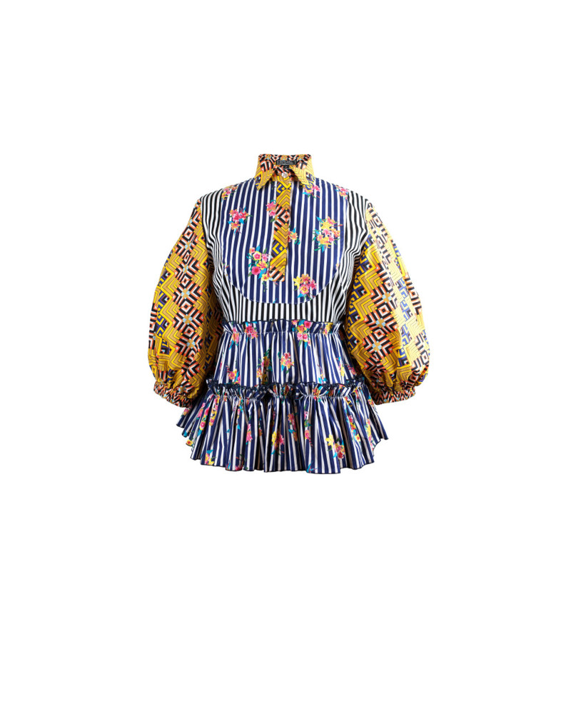 Cyan Multi Afri Prairie Blouse, Solstice Delivery One, Bohn Jsell Collections
