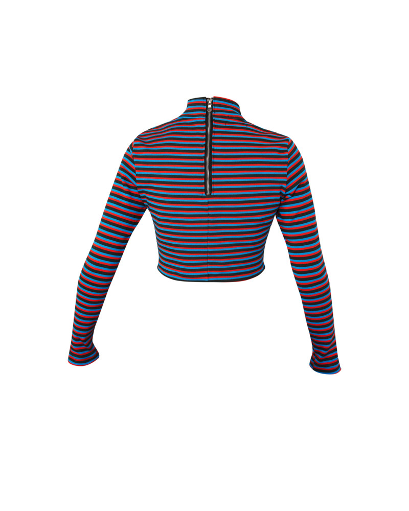 Striped Cropped Turtleneck, Wild Child, Meghan Hughes