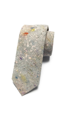 Nineteenth Amendment, , Hand-Dyed, One-Of-A-Kind Neckties, Speckled Grey + Coral Necktie, Accessories