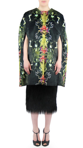 Printed Faux Fur Cape, Neo Victorian , HOT!COUTURE