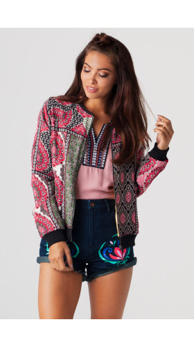 Patchwork Pink Cropped Bomber, Disney Frozen x Alice Xuan , Disney x Brooklyn Apparel Collective