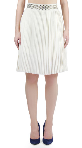 Nineteenth Amendment, , Modern Baroque, Pleated A Line Zipper Skirt, SKIRT