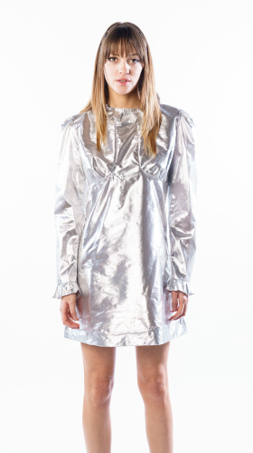 Nineteenth Amendment, THIS IS SLOANE, COLLECTION 5 - MINI CAPSULE, SHEER SILVER Metallic Sparky Mini Dress, DRESS