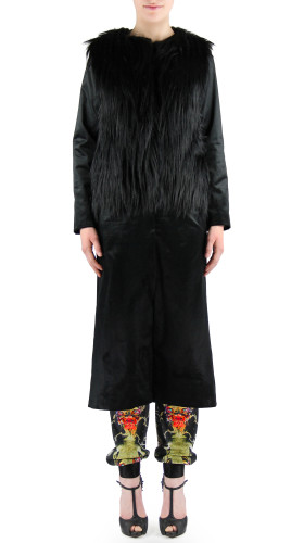 Faux Fur Black Coat, Neo Victorian , HOT!COUTURE