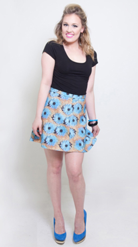 Nineteenth Amendment, , Mod Squad, Blue Daisy Skirt, SKIRT